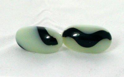 Earrings Black and White Ball