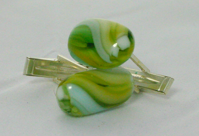 Cuff Links Green Swirl 2