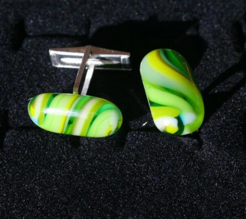 sterling silver and glass cuff links