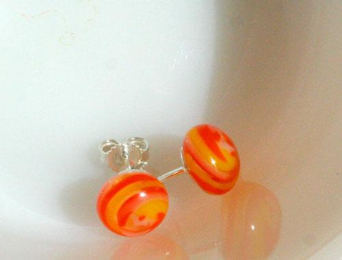 sterling silver backed glass earrings